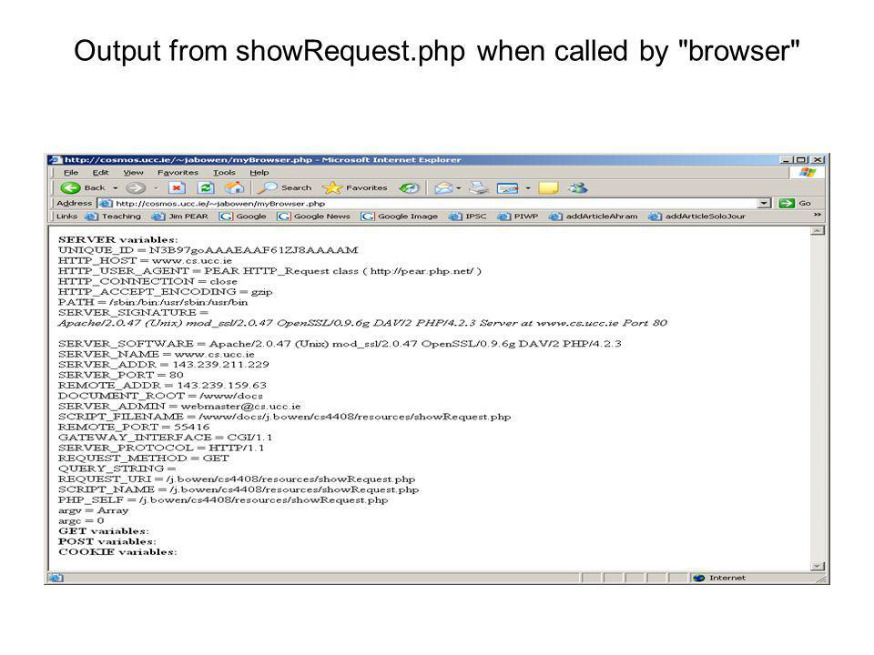 Output from showRequest.php when called by browser