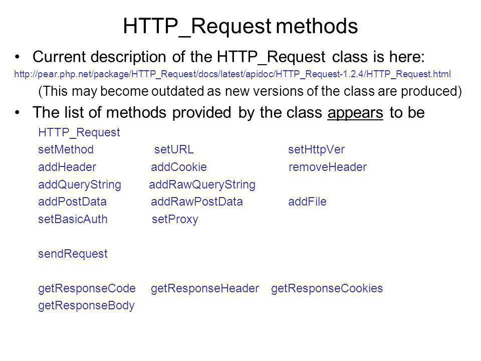 Modified utility to show all data from incoming requests: http://www.cs.ucc.ie/j.bowen/cs4408/resources/showRequest2.php <?php ob_start(); setcookie( dummyCookie , baconAndEggs ); ob_end_flush(); echo SERVER variables: ; foreach ($_SERVER as $name => $value) { echo $name = $value ; } echo GET variables: ; foreach ($_GET as $name => $value) { echo $name = $value ; } echo POST variables: ; foreach ($_POST as $name => $value) { echo $name = $value ; } echo COOKIE variables: ; foreach ($_COOKIE as $name => $value) { echo $name = $value ; } ?>
