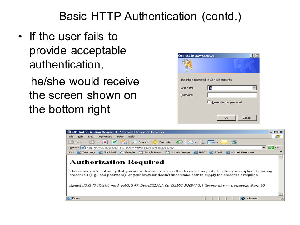 Basic HTTP Authentication (contd.) If the user fails to provide acceptable authentication, he/she would receive the screen shown on the bottom right
