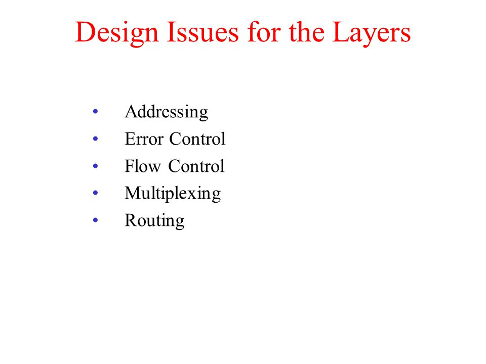 Design Issues for the Layers Addressing Error Control Flow Control Multiplexing Routing