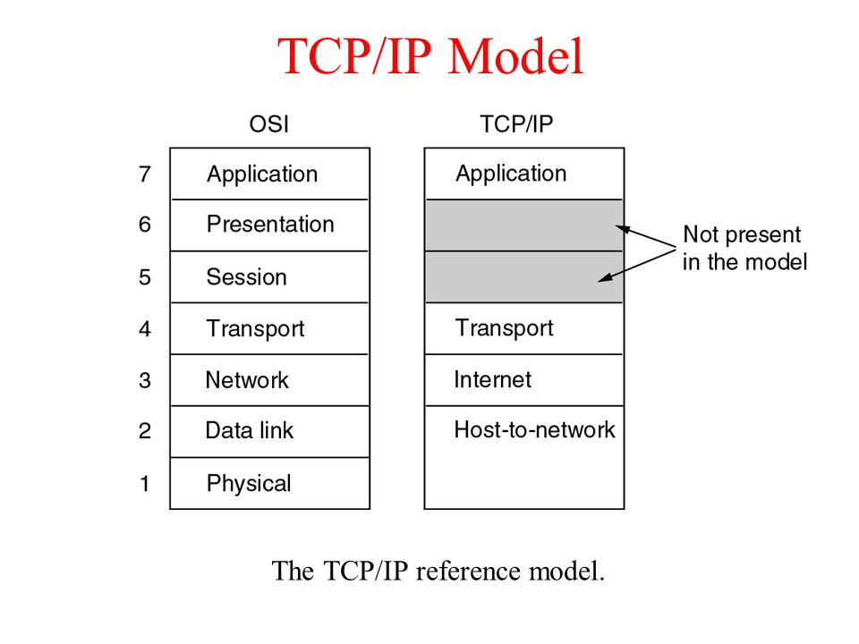 TCP/IP Model The TCP/IP reference model.