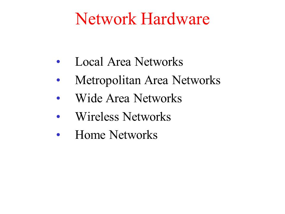 Network Hardware Local Area Networks Metropolitan Area Networks Wide Area Networks Wireless Networks Home Networks