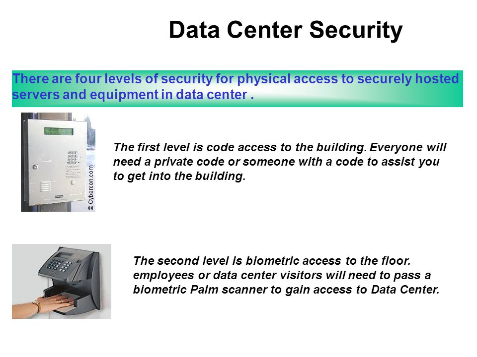 Data Center Security There are four levels of security for physical access to securely hosted servers and equipment in data center.