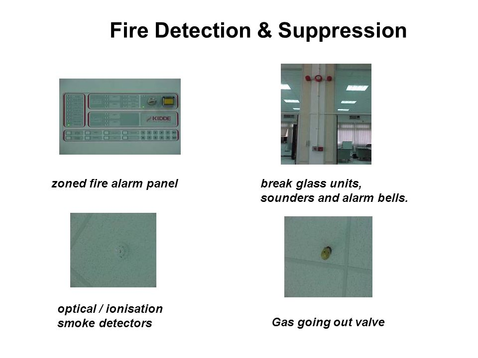 Fire Detection & Suppression zoned fire alarm panelbreak glass units, sounders and alarm bells.