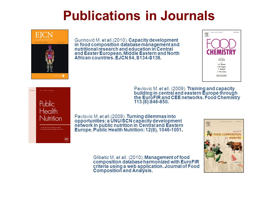 Publications in Journals Gurinović M, et all.(2010).