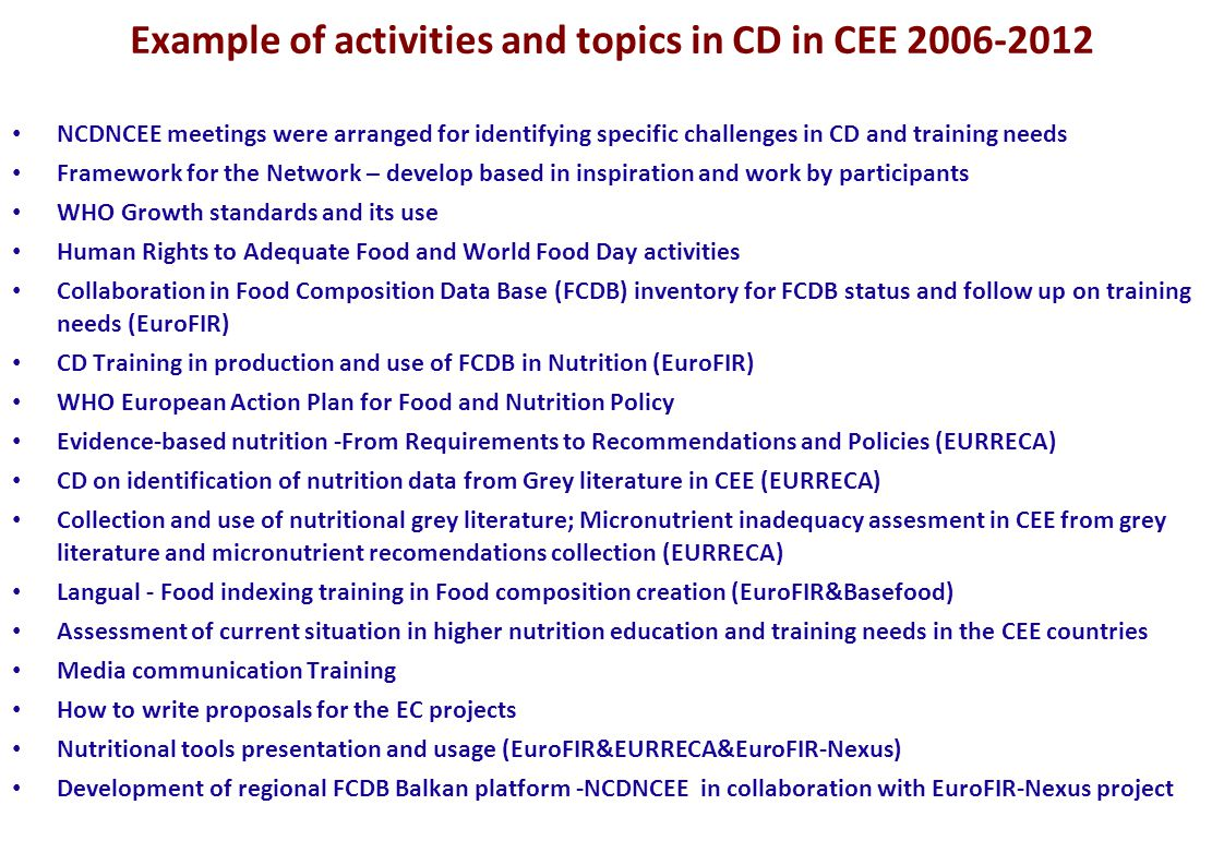 Example of activities and topics in CD in CEE 2006-2012 NCDNCEE meetings were arranged for identifying specific challenges in CD and training needs Framework for the Network – develop based in inspiration and work by participants WHO Growth standards and its use Human Rights to Adequate Food and World Food Day activities Collaboration in Food Composition Data Base (FCDB) inventory for FCDB status and follow up on training needs (EuroFIR) CD Training in production and use of FCDB in Nutrition (EuroFIR) WHO European Action Plan for Food and Nutrition Policy Evidence-based nutrition -From Requirements to Recommendations and Policies (EURRECA) CD on identification of nutrition data from Grey literature in CEE (EURRECA) Collection and use of nutritional grey literature; Micronutrient inadequacy assesment in CEE from grey literature and micronutrient recomendations collection (EURRECA) Langual - Food indexing training in Food composition creation (EuroFIR&Basefood) Assessment of current situation in higher nutrition education and training needs in the CEE countries Media communication Training How to write proposals for the EC projects Nutritional tools presentation and usage (EuroFIR&EURRECA&EuroFIR-Nexus) Development of regional FCDB Balkan platform -NCDNCEE in collaboration with EuroFIR-Nexus project