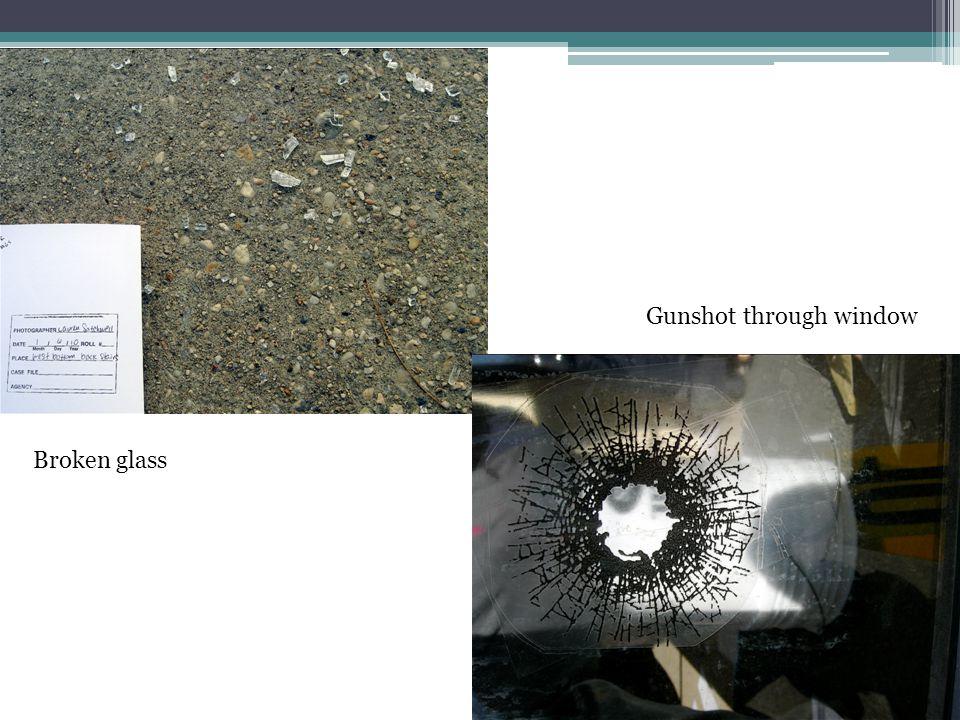 Broken glass Gunshot through window