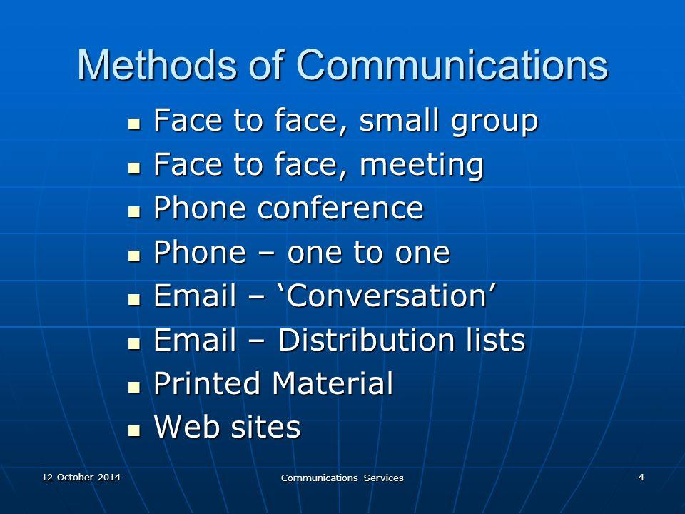 12 October 201412 October 201412 October 2014 Communications Services 15