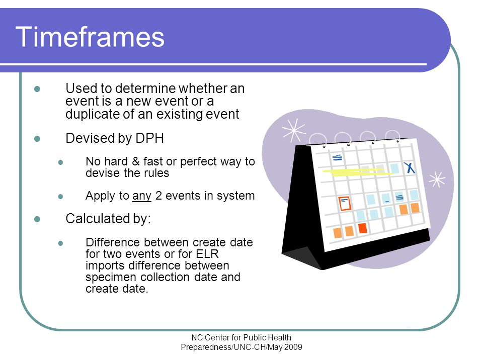 NC Center for Public Health Preparedness/UNC-CH/May 2009 Timeframes Used to determine whether an event is a new event or a duplicate of an existing event Devised by DPH No hard & fast or perfect way to devise the rules Apply to any 2 events in system Calculated by: Difference between create date for two events or for ELR imports difference between specimen collection date and create date.