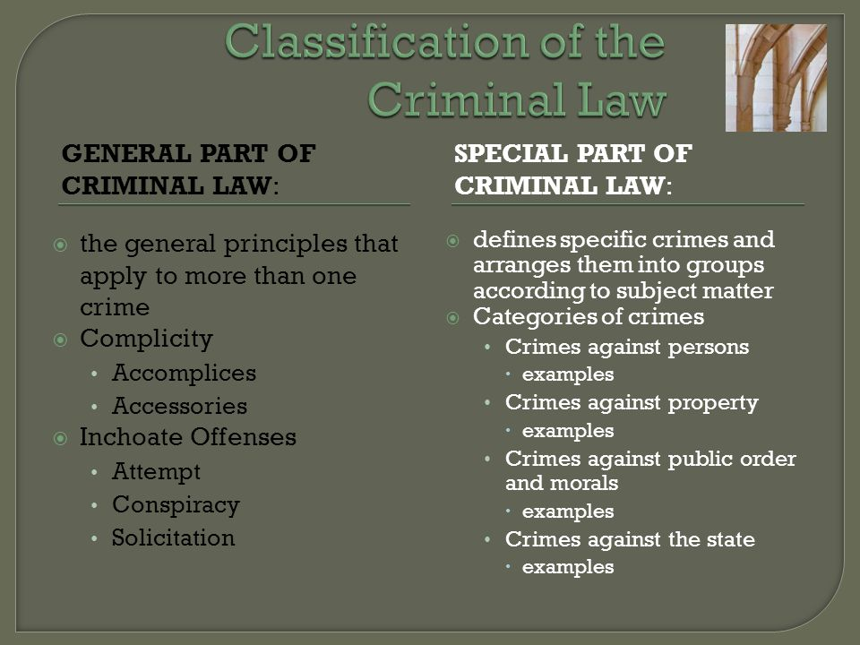 GENERAL PART OF CRIMINAL LAW: SPECIAL PART OF CRIMINAL LAW:  the general principles that apply to more than one crime  Complicity Accomplices Access