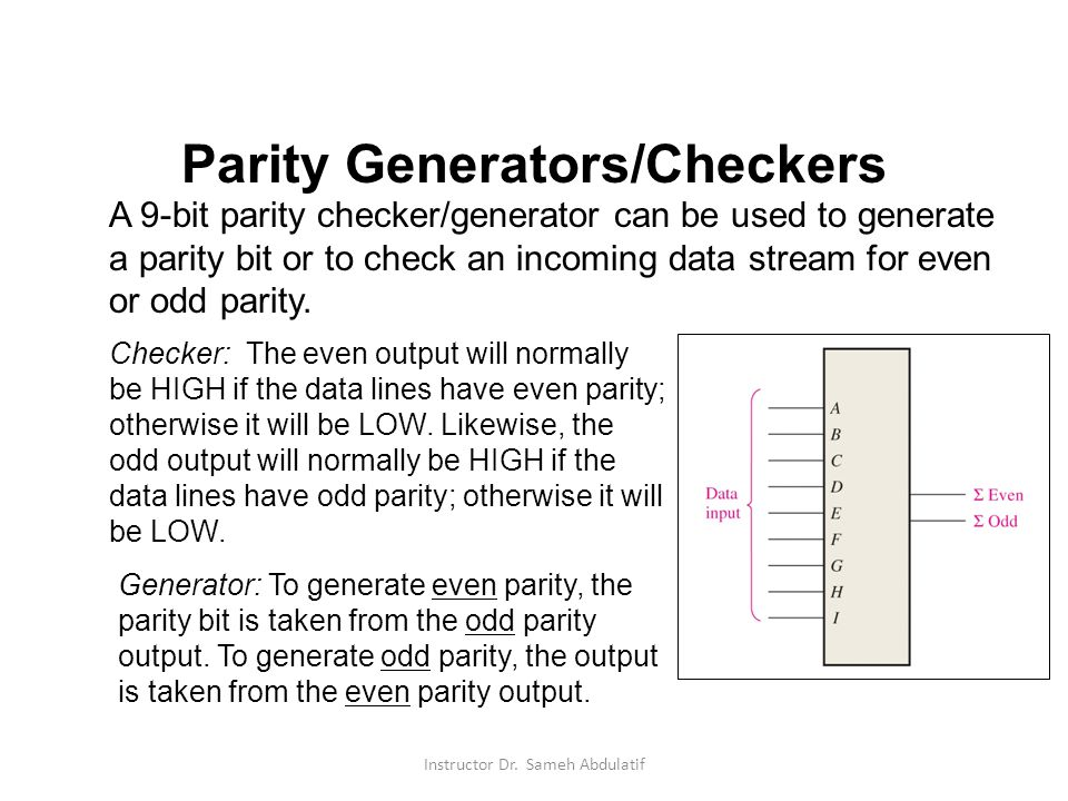 Parity Generators/Checkers A 9-bit parity checker/generator can be used to generate a parity bit or to check an incoming data stream for even or odd p