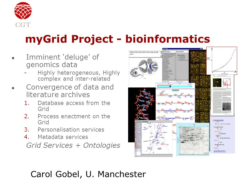 myGrid Project - bioinformatics l Imminent 'deluge' of genomics data -Highly heterogeneous, Highly complex and inter-related l Convergence of data and