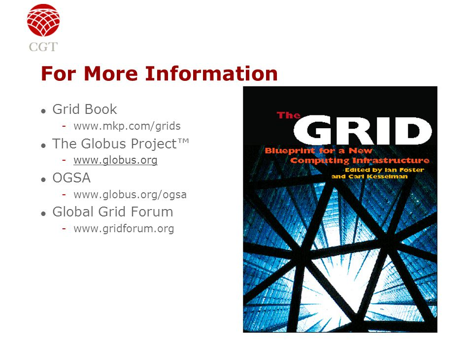 For More Information l Grid Book -www.mkp.com/grids l The Globus Project™ -www.globus.orgwww.globus.org l OGSA -www.globus.org/ogsa l Global Grid Forum -www.gridforum.org