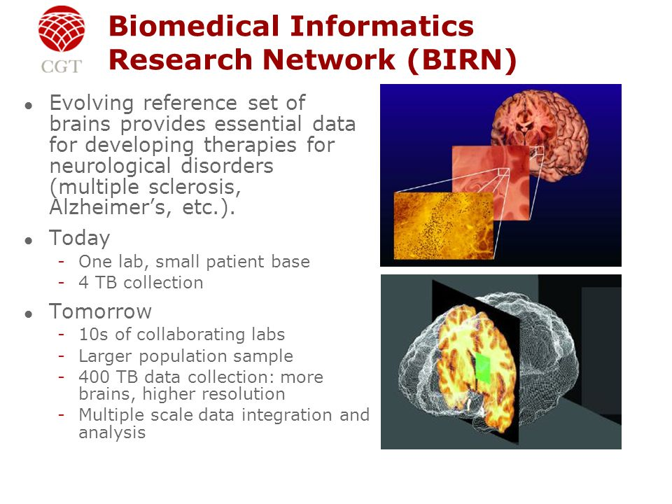Biomedical Informatics Research Network (BIRN) l Evolving reference set of brains provides essential data for developing therapies for neurological disorders (multiple sclerosis, Alzheimer's, etc.).
