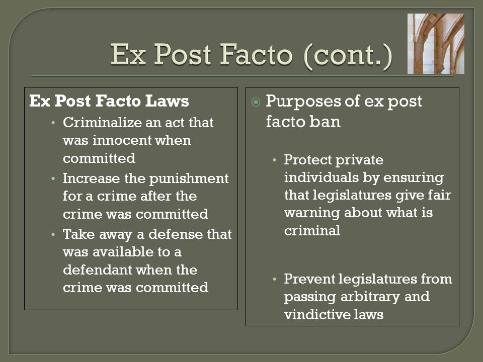  Purpose similar to ex post facto ban Strike down laws that fail to give fair warning as to what is prohibited Strike down laws that allow arbitrary and discriminatory administration of criminal justice  Derives from 5 th Amendment (applicable to Feds) and 14 th Amendment (applicable to States) due process requirement  Lanzetta v.