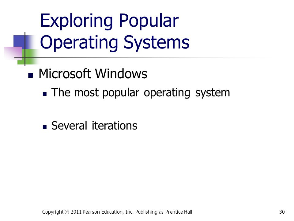 Exploring Popular Operating Systems The most popular operating system Several iterations Copyright © 2011 Pearson Education, Inc. Publishing as Prenti