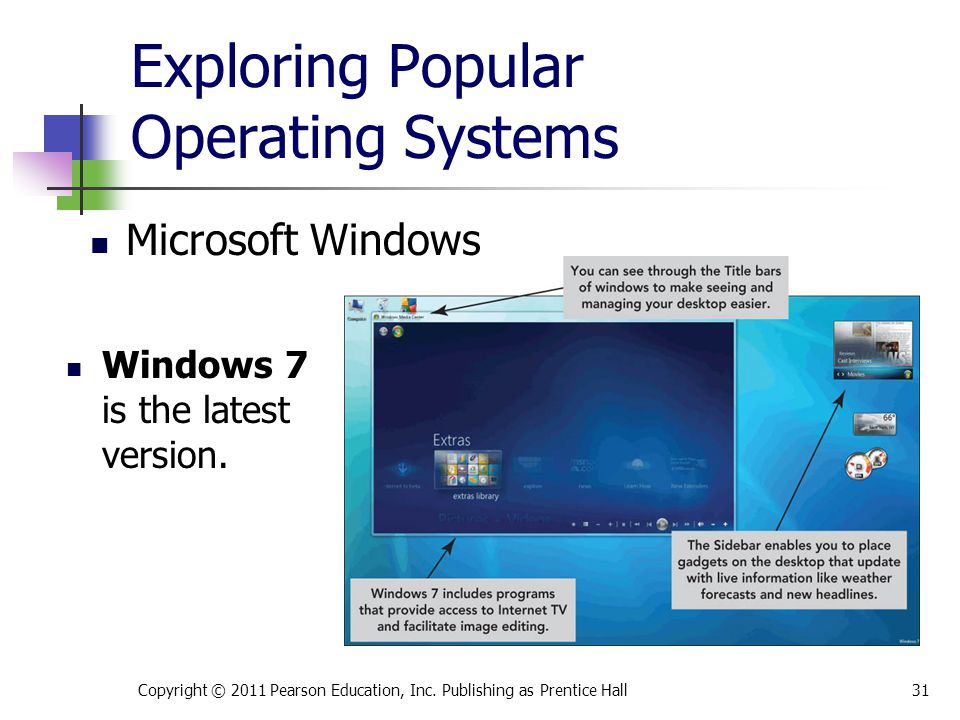 Exploring Popular Operating Systems Windows 7 is the latest version. Copyright © 2011 Pearson Education, Inc. Publishing as Prentice Hall31 Microsoft