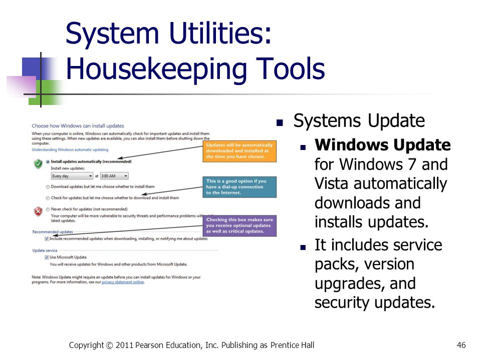 System Utilities: Housekeeping Tools Systems Update Windows Update for Windows 7 and Vista automatically downloads and installs updates. It includes s