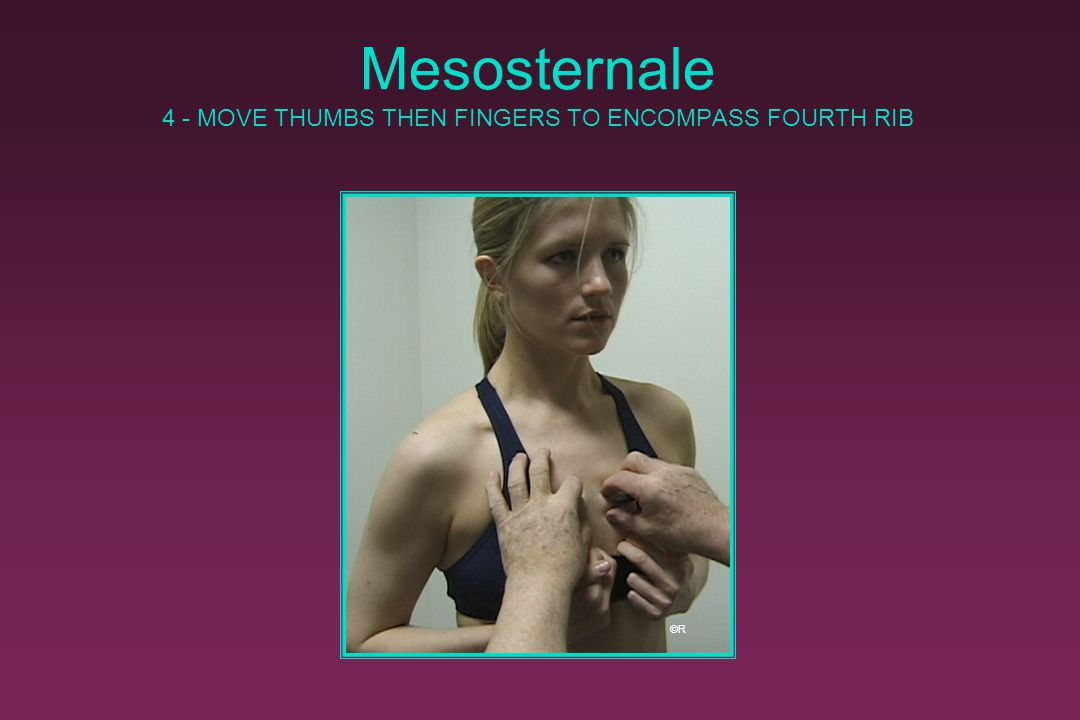 Mesosternale MARK LANDMARK ON STERNUM AT MID-JUNCTION (OR ARTICULATION) OF FOURTH RIBS ©R