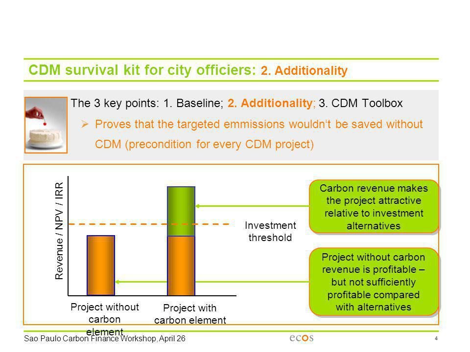 Sao Paulo Carbon Finance Workshop, April 26 4 CDM survival kit for city officiers: 2. Additionality The 3 key points: 1. Baseline; 2. Additionality; 3