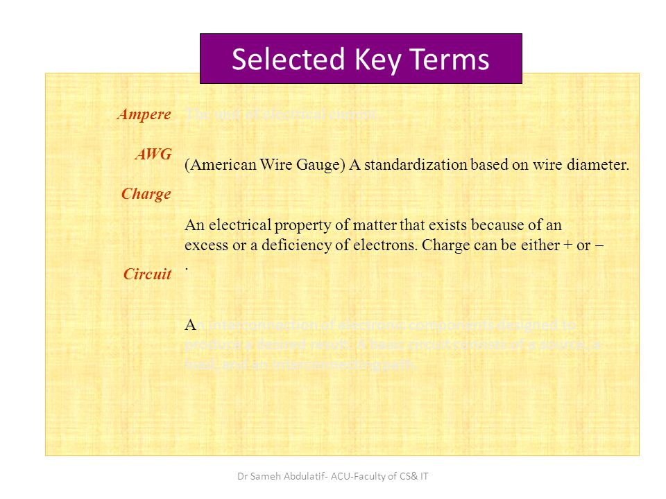 Ampere AWG  Charge Circuit The unit of electrical current.