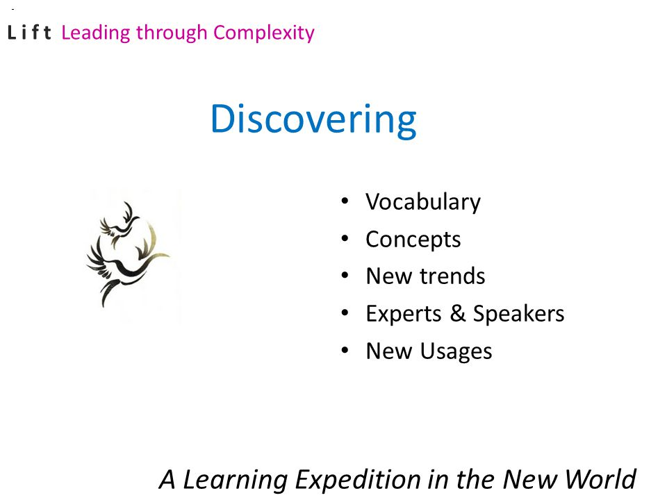 Vocabulary Concepts New trends Experts & Speakers New Usages A Learning Expedition in the New World Discovering L i f t Leading through Complexity