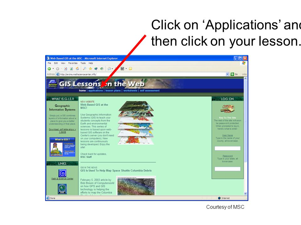 Click on 'Applications' and then click on your lesson. Courtesy of MSC