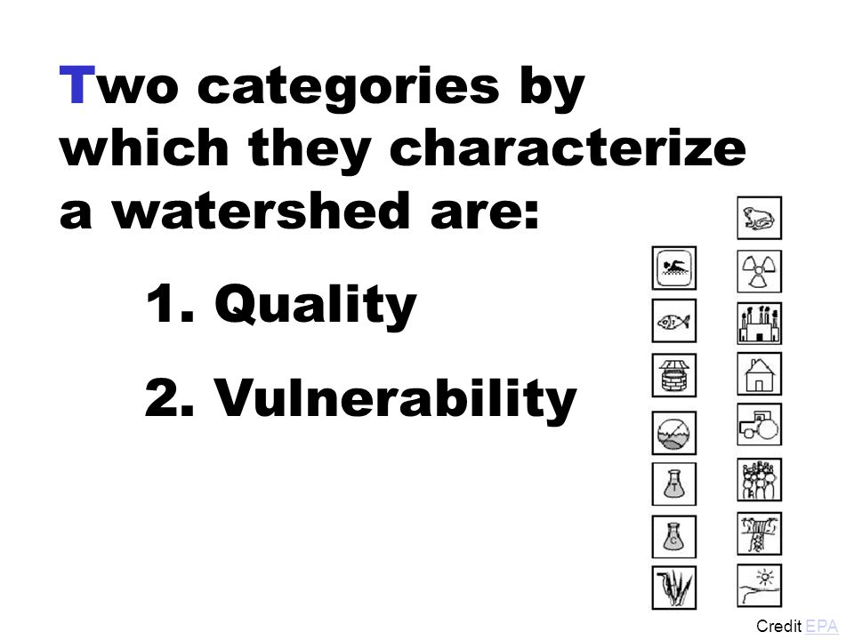 Two categories by which they characterize a watershed are: 1.