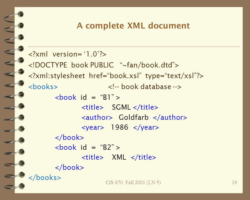 CIS 670 Fall 2001 (LN 5)19 A complete XML document SGML Goldfarb 1986 XML