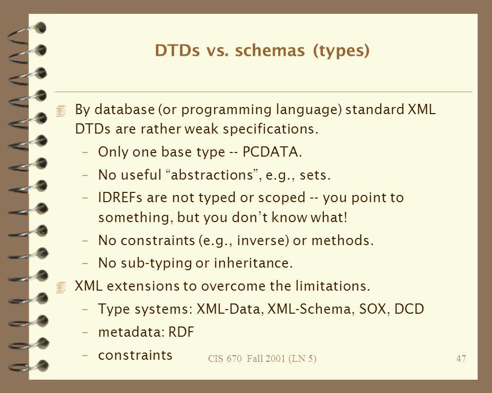 CIS 670 Fall 2001 (LN 5)47 DTDs vs.
