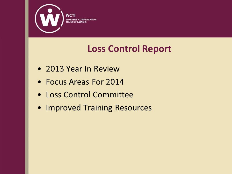 Loss Control Report 2013 Year In Review Focus Areas For 2014 Loss Control Committee Improved Training Resources