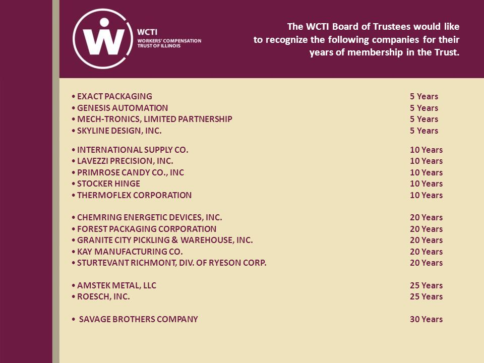 The WCTI Board of Trustees would like to recognize the following companies for their years of membership in the Trust.