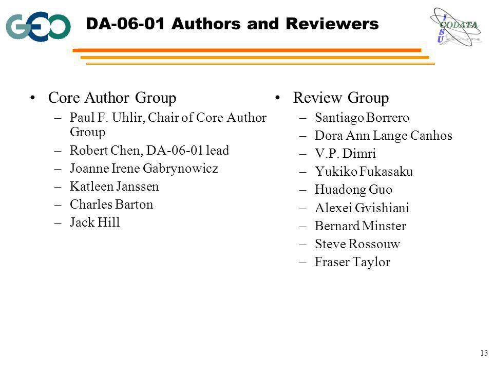 13 DA-06-01 Authors and Reviewers Core Author Group –Paul F.