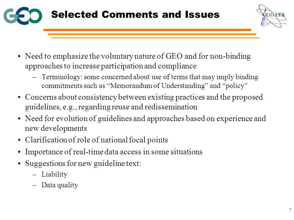 Tentative Schedule November 2008: Discussion of the draft guidelines at GEO-V Plenary.