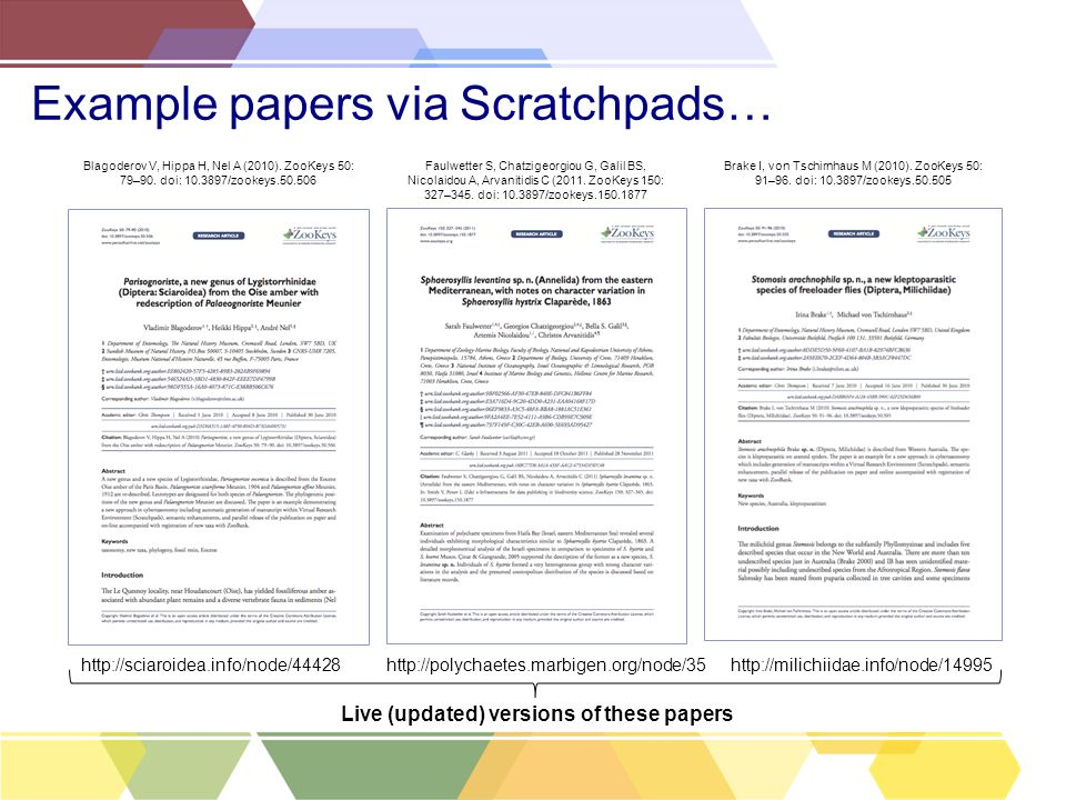 Example papers via Scratchpads… Blagoderov V, Hippa H, Nel A (2010).