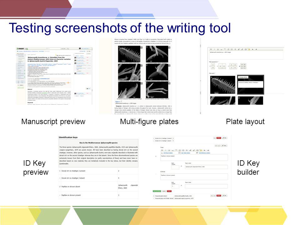 Testing screenshots of the writing tool ID Key preview Multi-figure platesPlate layout ID Key builder Manuscript preview