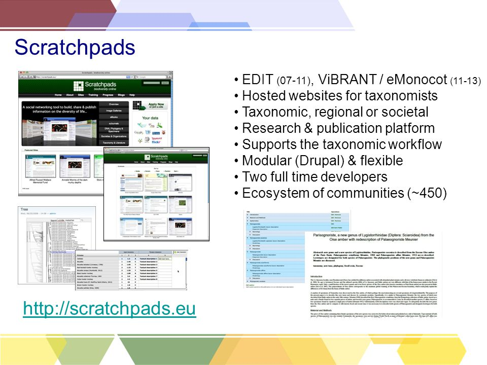 Scratchpads EDIT (07-11), ViBRANT / eMonocot (11-13) Hosted websites for taxonomists Taxonomic, regional or societal Research & publication platform Supports the taxonomic workflow Modular (Drupal) & flexible Two full time developers Ecosystem of communities (~450) http://scratchpads.eu