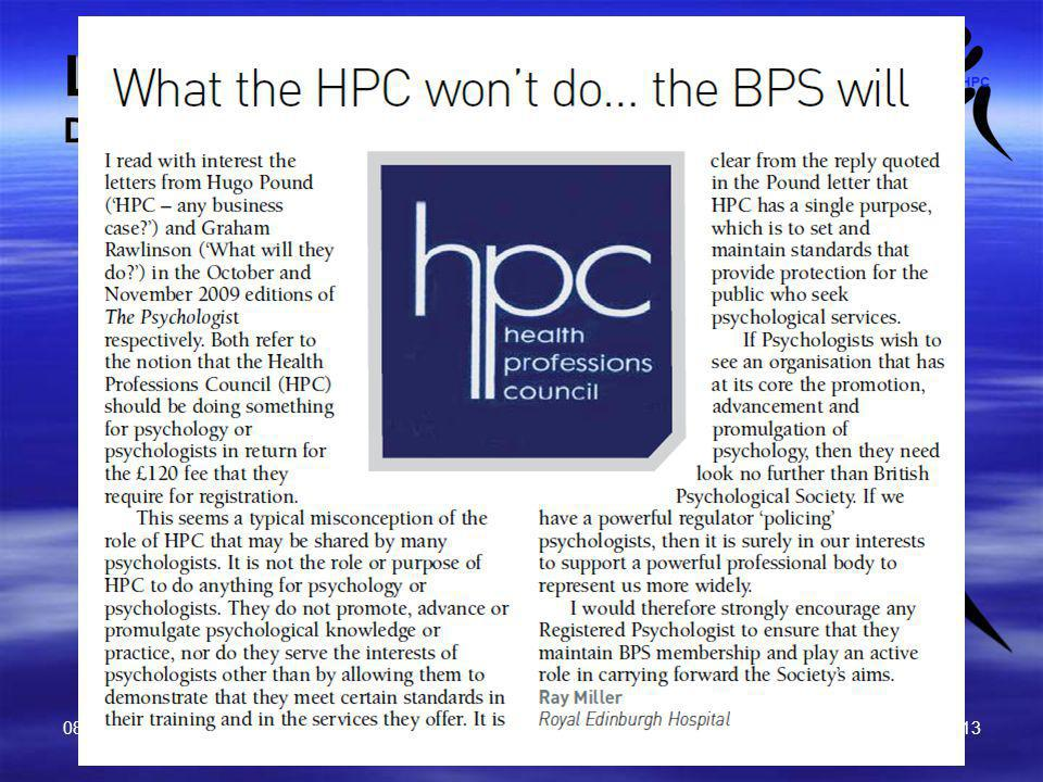 08 June 2010 BPS v HPC Prof Ray Miller 13 Letter to The Psychologist December 2009