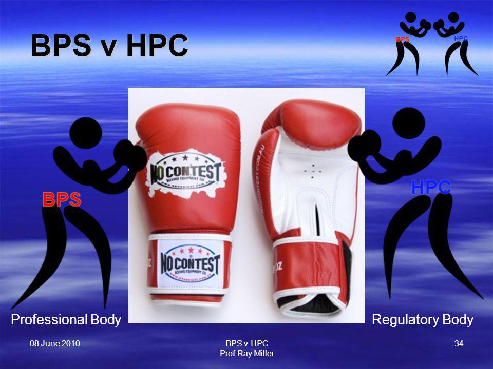08 June 2010 BPS v HPC Prof Ray Miller 34 BPS v HPC Professional BodyRegulatory Body