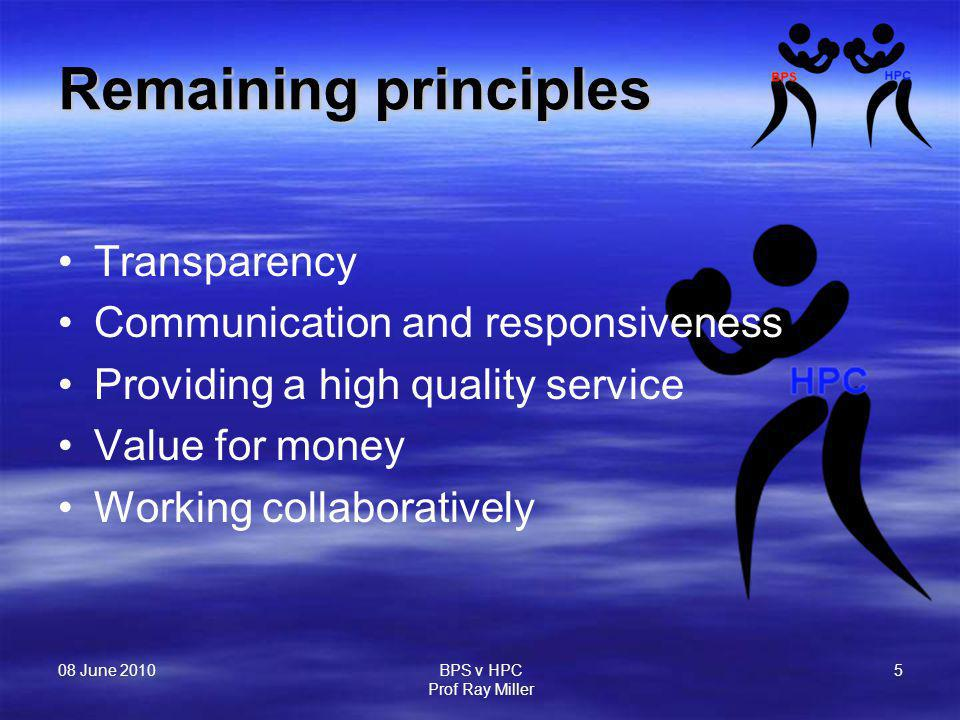 08 June 2010 BPS v HPC Prof Ray Miller 5 Remaining principles Transparency Communication and responsiveness Providing a high quality service Value for money Working collaboratively