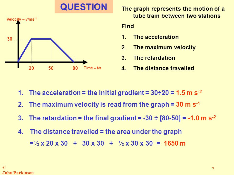 © John Parkinson 7 Velocity – v/ms -1 Time – t/s 30 2050 80 QUESTION The graph represents the motion of a tube train between two stations Find 1.The acceleration 2.The maximum velocity 3.The retardation 4.The distance travelled 1.