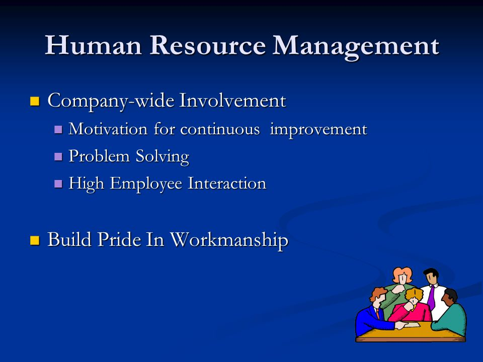 Human Resource Management Company-wide Involvement Company-wide Involvement Motivation for continuous improvement Motivation for continuous improvement Problem Solving Problem Solving High Employee Interaction High Employee Interaction Build Pride In Workmanship Build Pride In Workmanship
