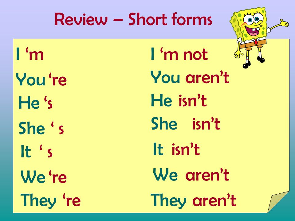 Review – Short forms I You He She It We They 'm'm 's's ' s ' s ' s 're It She He You I We They aren't isn't aren't 'm not isn't aren't