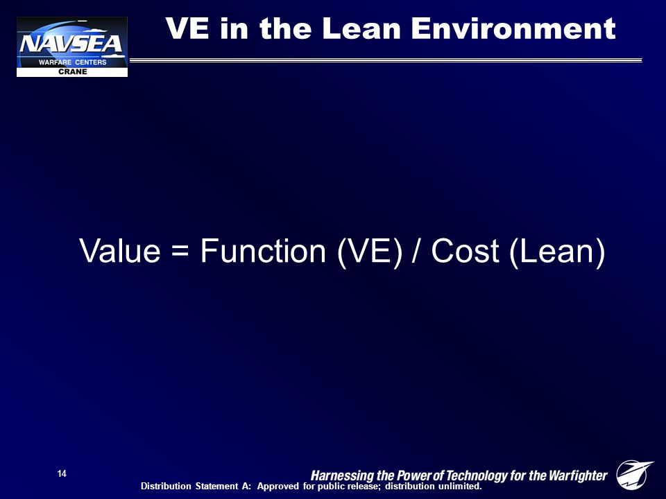 14 Value = Function (VE) / Cost (Lean) VE in the Lean Environment Distribution Statement A: Approved for public release; distribution unlimited.