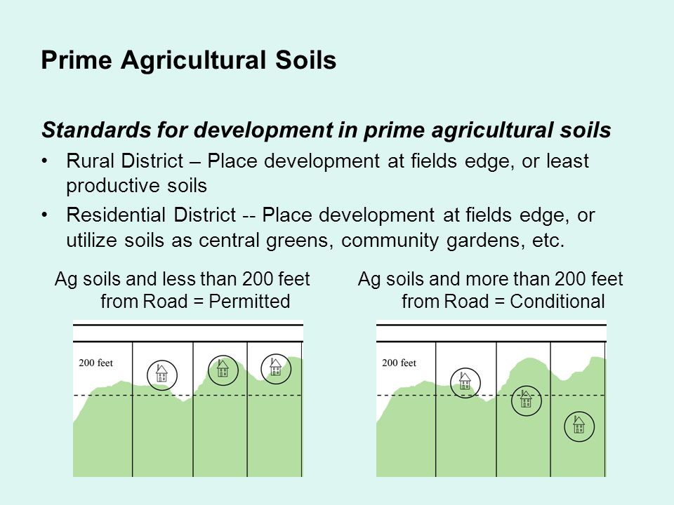 Prime Agricultural Soils Standards for development in prime agricultural soils Rural District – Place development at fields edge, or least productive soils Residential District -- Place development at fields edge, or utilize soils as central greens, community gardens, etc.