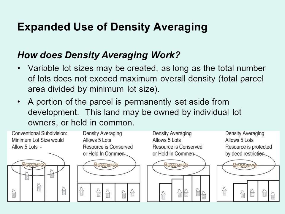 Expanded Use of Density Averaging How does Density Averaging Work.