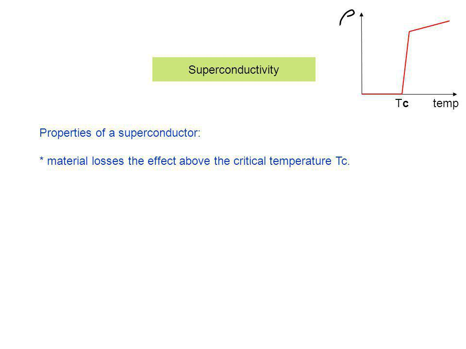 Superconductivity tempTcTc Properties of a superconductor: * material losses the effect above the critical temperature Tc.
