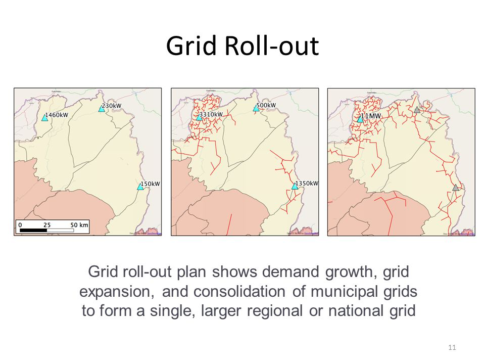 Grid Roll-out 11 Grid roll-out plan shows demand growth, grid expansion, and consolidation of municipal grids to form a single, larger regional or national grid