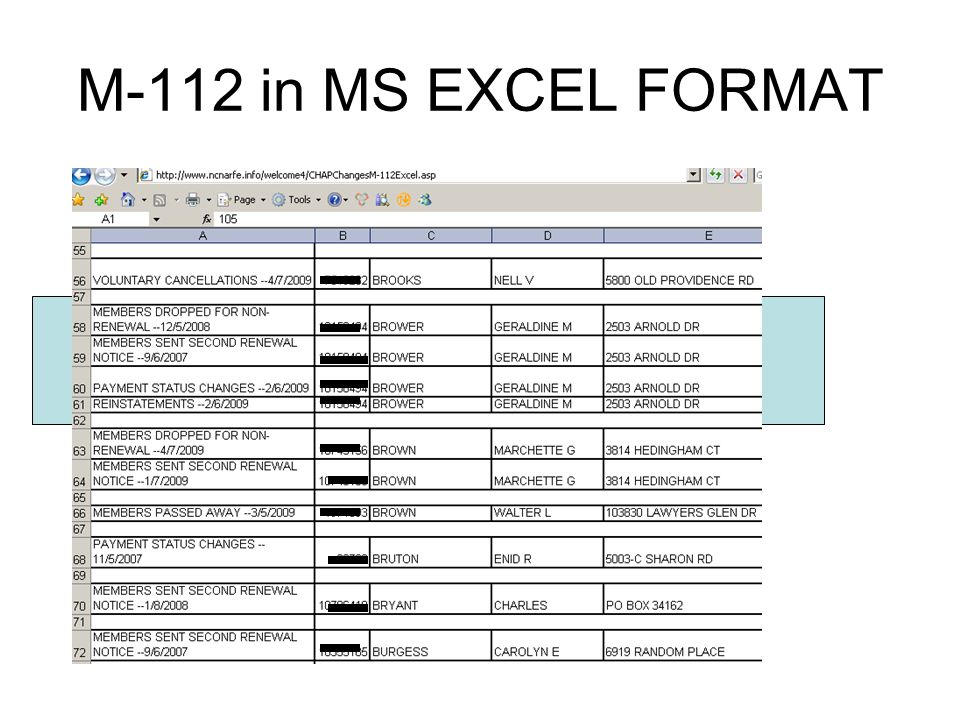 M-112 in MS EXCEL FORMAT