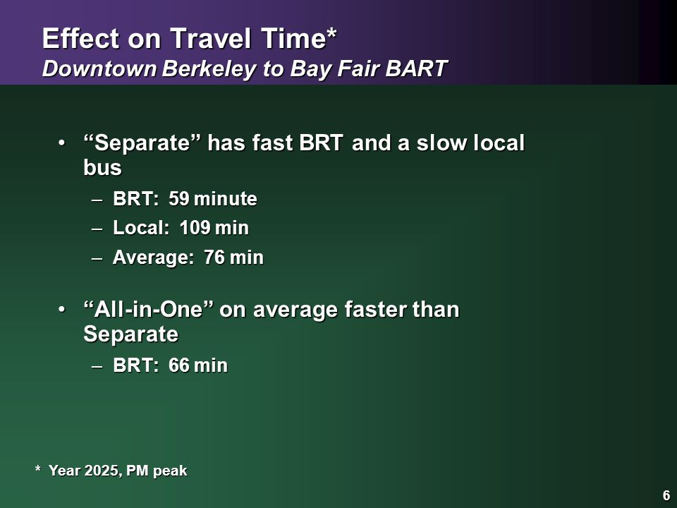 "6 Effect on Travel Time* Downtown Berkeley to Bay Fair BART ""Separate"" has fast BRT and a slow local bus""Separate"" has fast BRT and a slow local bus –"